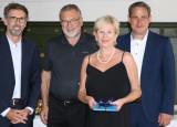 Fachbereichsleiter Jürgen Sänger, Werner Keil, Angelika Keil, Bürgermeister Dirk Harscher