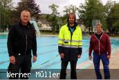 Herr Sanoy, Herr Brouwer und Herr Wüst im Schopfheimer Freibad