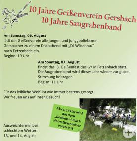 10 Jahre Geissenverein und Saugrabenband