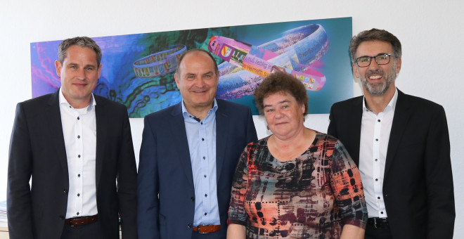 Bürgermeister Dirk Harscher, Fachbereichsleiter Thomas Spohn, Sabine Wagner, Fachbereichsleiter Jürgen Sänger