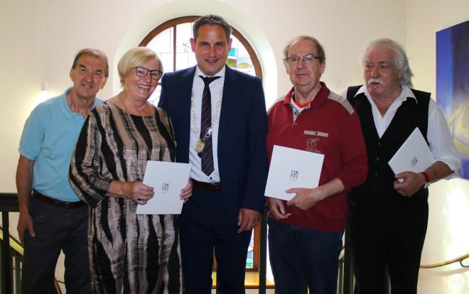 Ehrenfried Barnet, Marianne Zabel, Bürgermeister Harscher, Artur Cremans, Jeannot Weißenberger