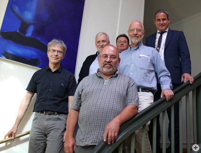 Wurden verabschiedet: Bernd Müller, Roland Blum, Thomas Jost, Mark Leimgruber, Karl Schäfer, Bürgermeister Harscher
