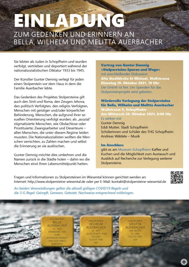 Einladung zum Gedenken und Erinnern an verfolgte Juden aus Schopfheim